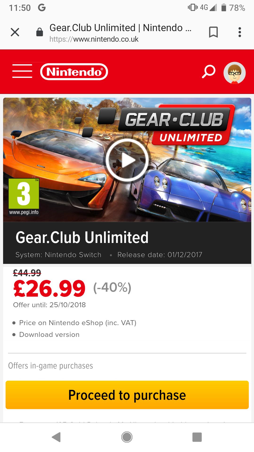 Gear Club Unlimited for Nintendo Switch £26.99 @ Nintendo eShop/website (was £44.99, digital copy)