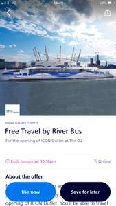 O2 priority- free return travel on Thames Clippers River Bus!