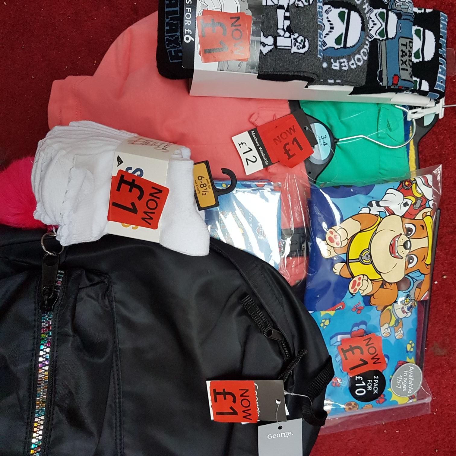 Asda - clearance clothes - school bags 1.00 - pjs 1.00 - shorts 1.00 etc