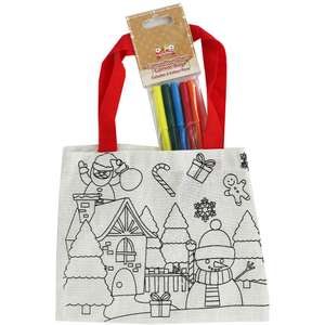 Colour Your Own Christmas Canvas Bags - with 5 pens assorted designs ONLY 80p with code free C&C @ The Works