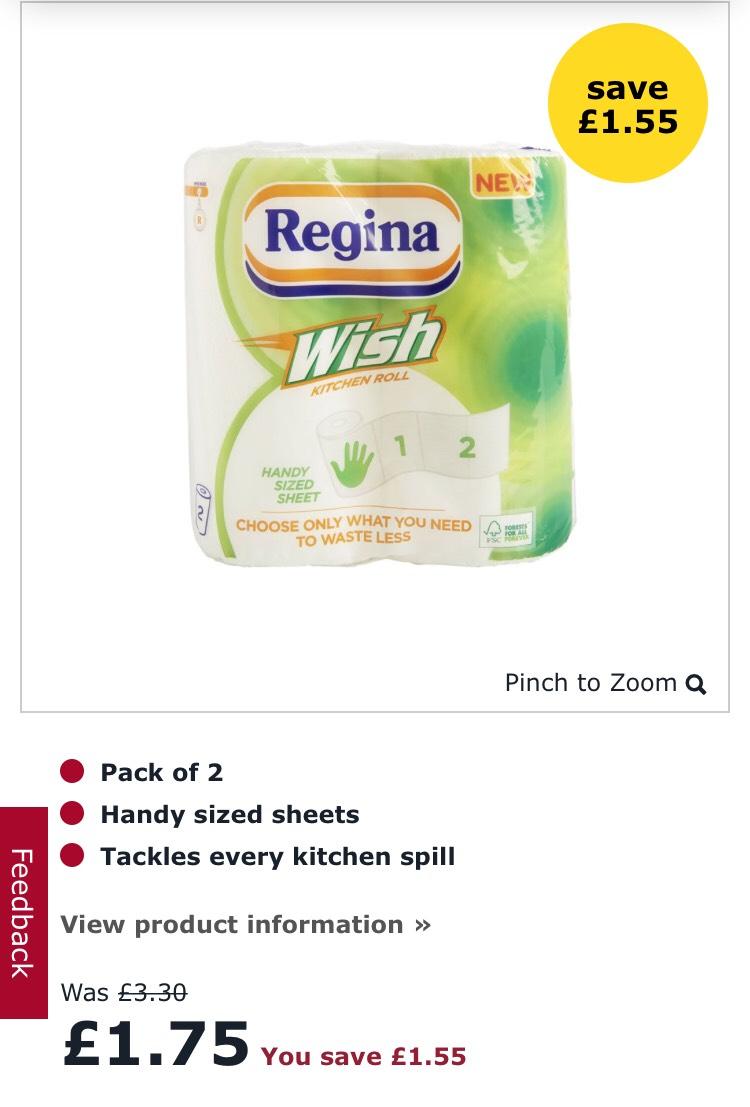 Regina wish kitchen paper towels - £1.75 @ Wilko
