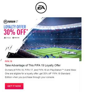 30% off Digital FIFA 19 Standard Edition if you own FIFA 16, FIFA 17, or FIFA 18 [Xbox One & PS4] - Additional 10% if you have EA Access