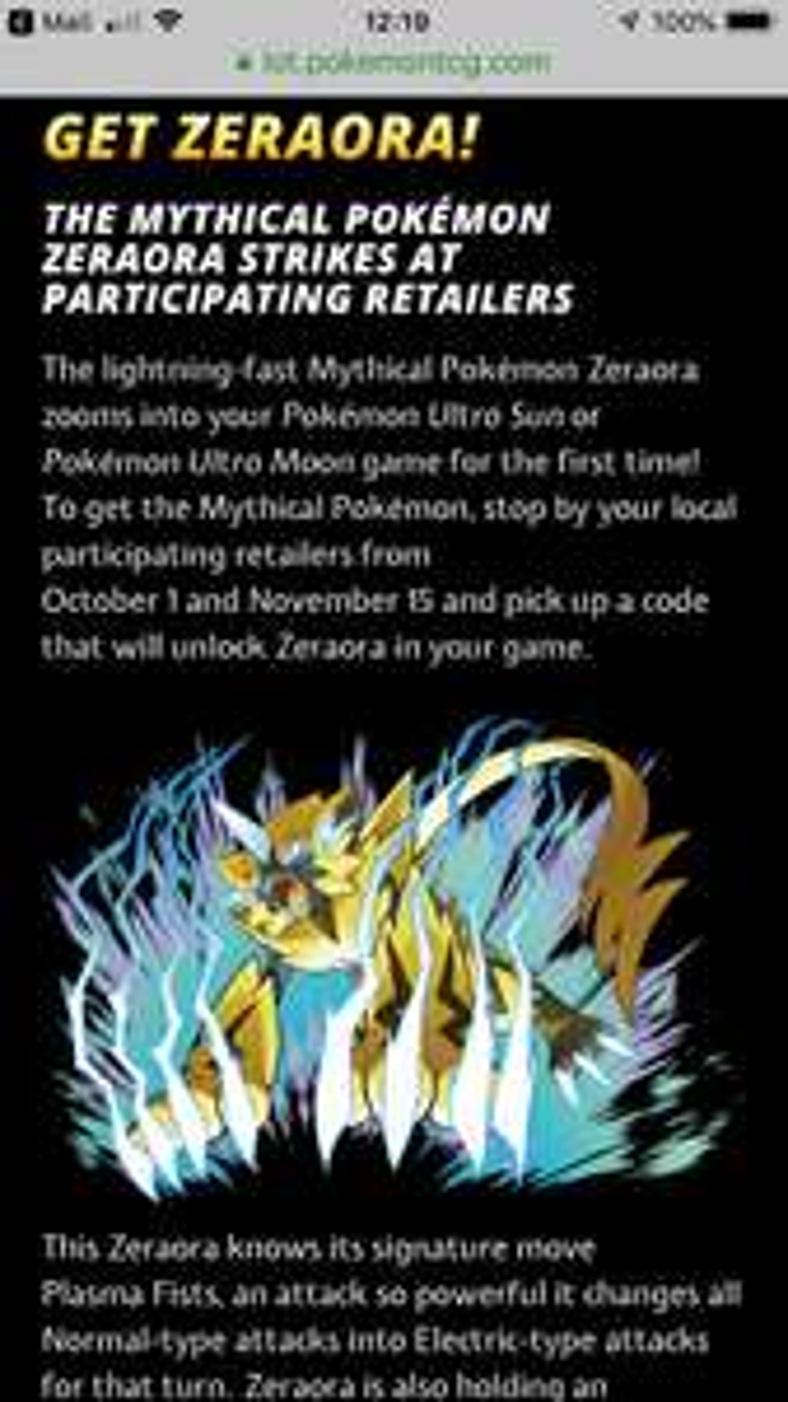 Free mythical Pokemon zeraora