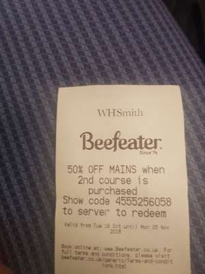 50% off mains at Beefeater when 2nd course is bought with WH Smith purchase