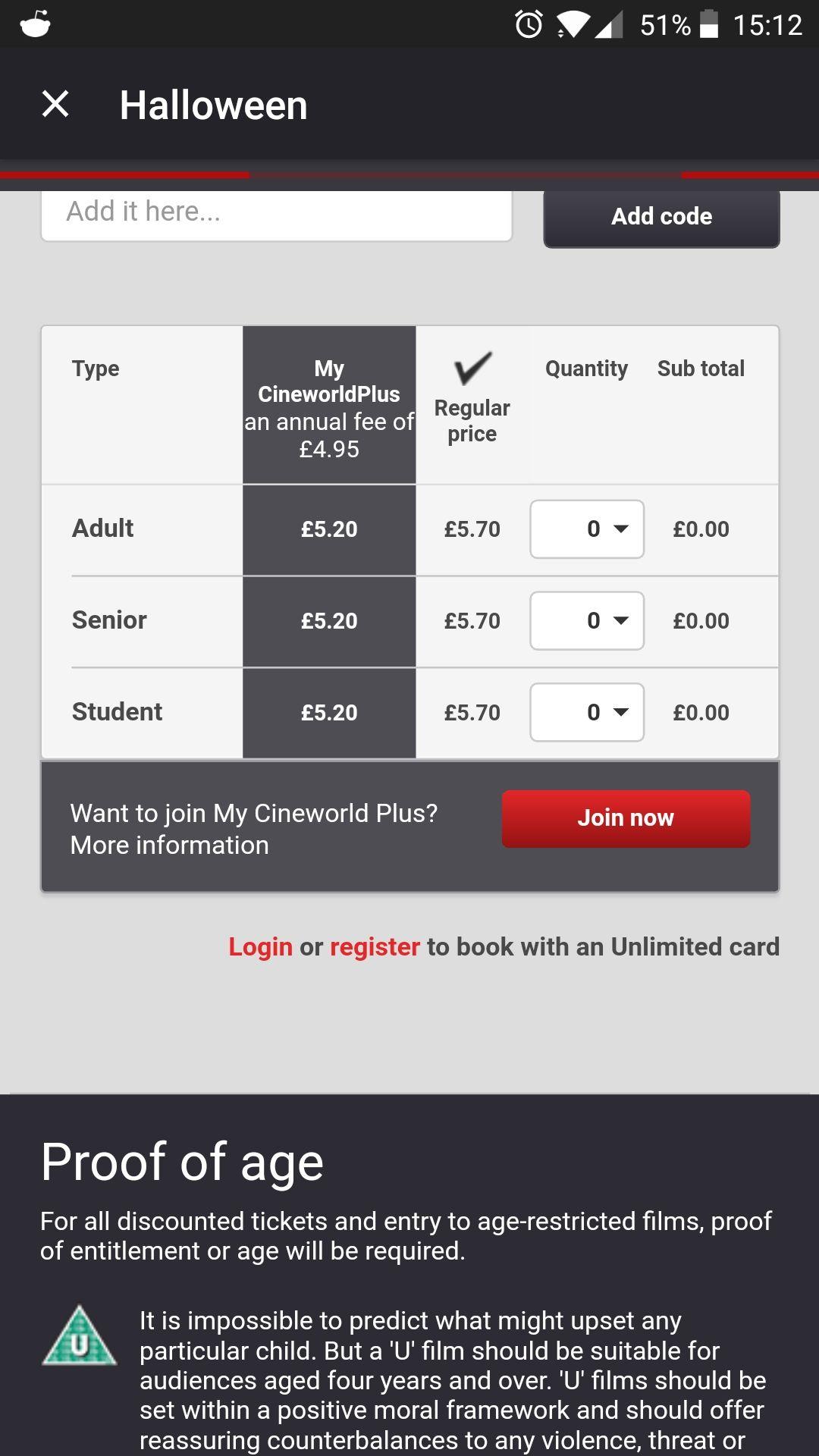Cineworld tickets for £5.70