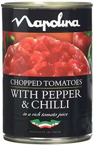 Napolina Chopped Toms with Pepper and Chilli, 400 g, Pack of 12@amazon prime.£6.09 prime.£10.58 non prime.