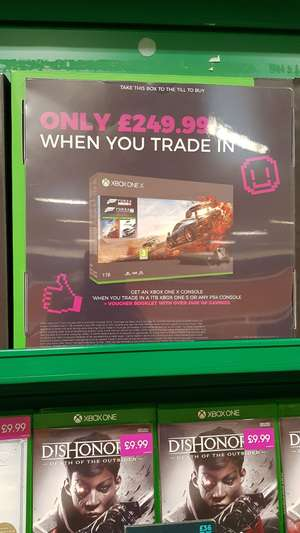 Xbox One X with FH4 and FH7 for £250 when you trade in 1TB Xbox One S or any PS4 - instore @ GAME