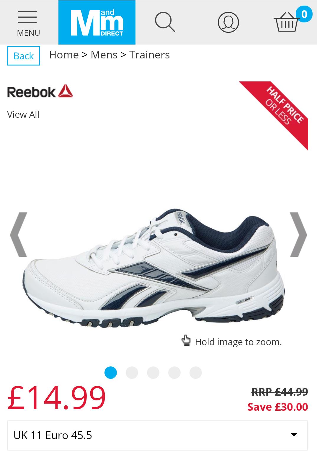 Reebok Mens Neche DMX Ride Training Shoes White/Navy/Silver - £14.99 @ MandM Direct