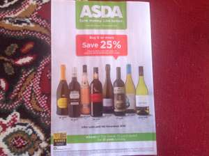 25% off 6 bottles on selected wines / champagne / sparkling at Asda