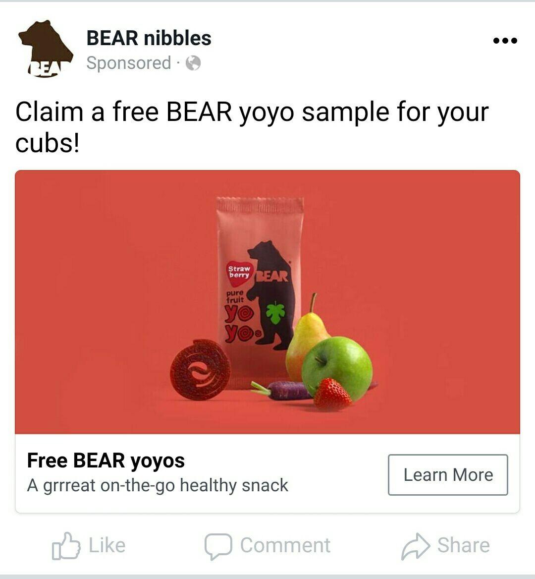 FREE Bear YoYo snack (Facebook form)
