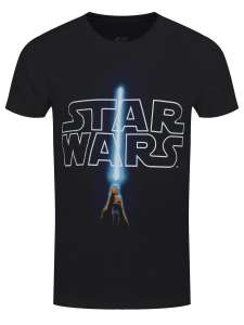 Star Wars Official Saber and Logo Men's Black T-Shirt reduced to £5.00 / £6.25 delivered @ Grind store