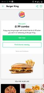 BURGER king £1.99 Student Combo Deal -  Any long burger with small fries