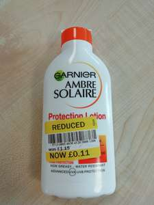 Sun cream (Various types) Garnier Ambre Solaire 11p at Tesco instore