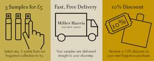3 Miller Harris fragrance samples with free delivery for just £5