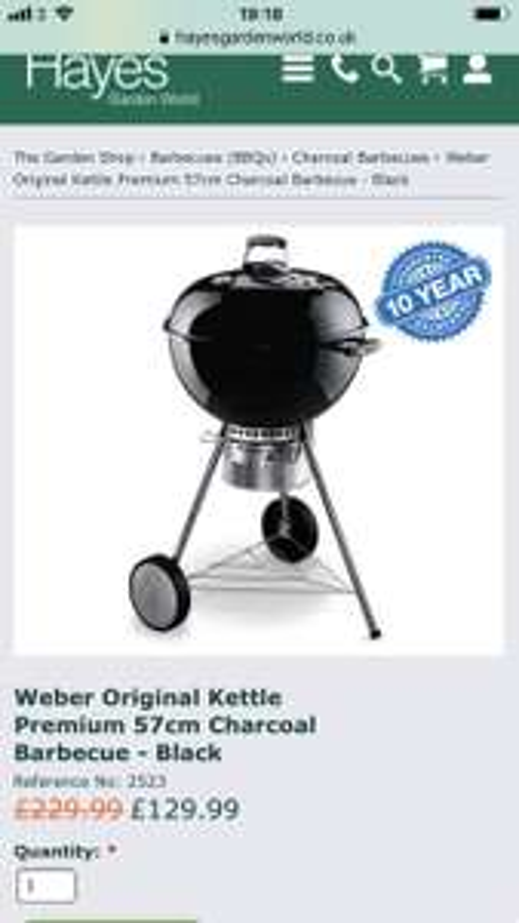 Weber Original One Touch Premium kettle 57cm BBQ, Black, Lowest Price!