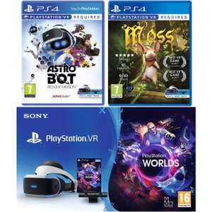 PSVR with Astro Bot, Moss VR and VR Worlds Bundle £209 @ Ao.com