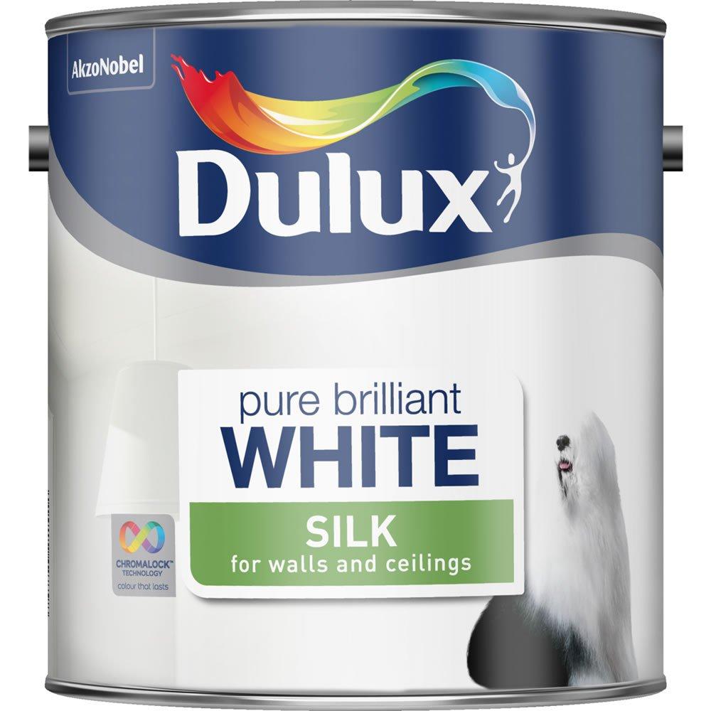 Dulux pure brilliant white silk or matt emulsion 2.5 litre tin now £6 @ Wilko
