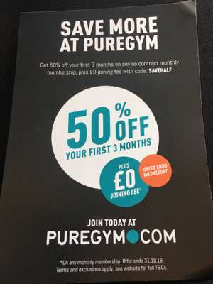50% Off Your First 3 Months and no joining fee at PureGym