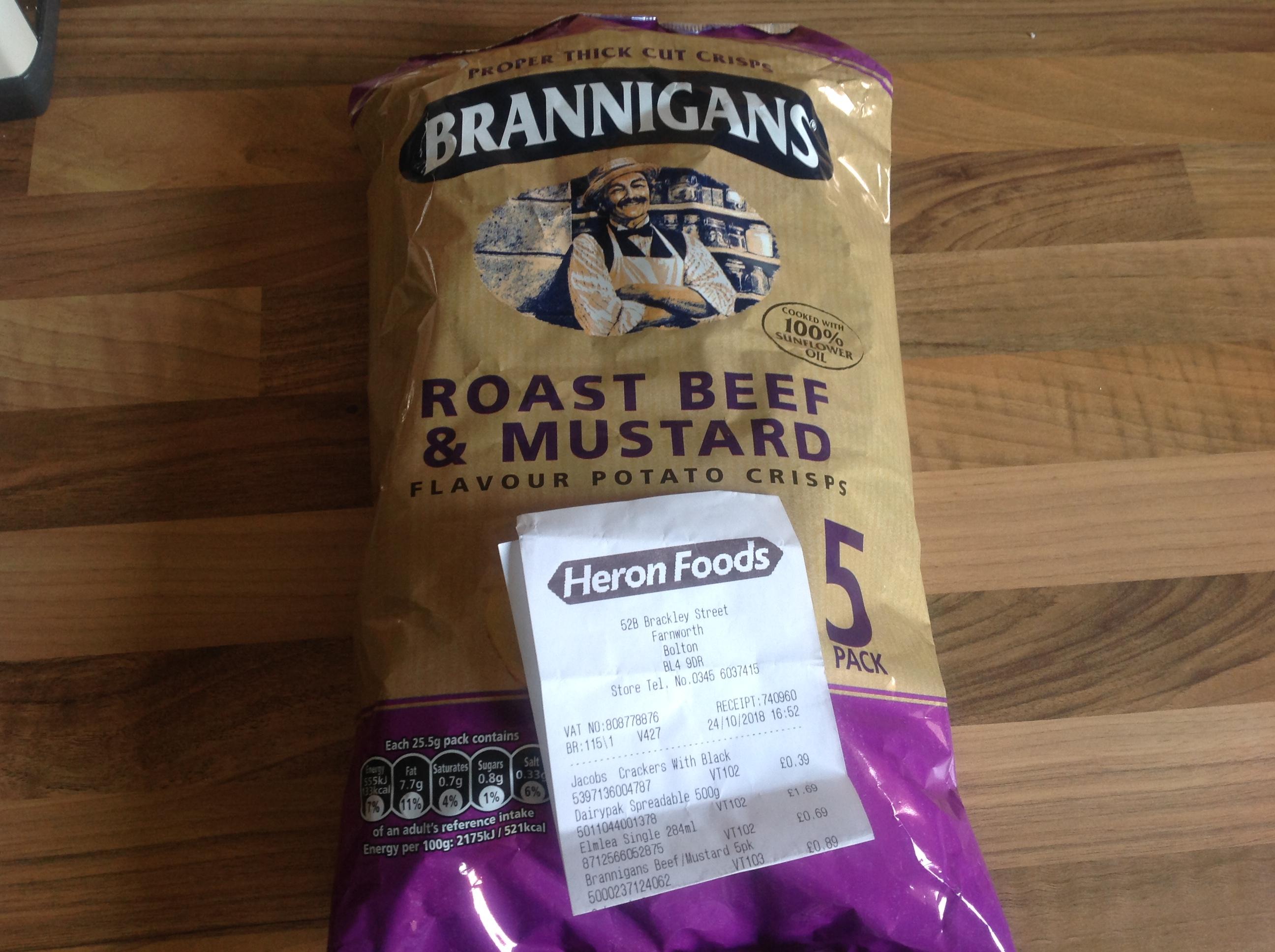 Brannigans Roast Beef & Mustard crisps 5 x 25.5g pack, 89p Heron - Farnworth store.