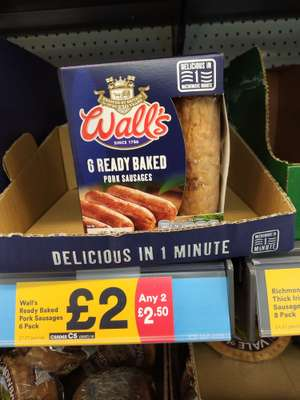 Iceland walls microwave sausages 6 pack,£2each or 2 packs for £2.50 works out at £1.25 per pack