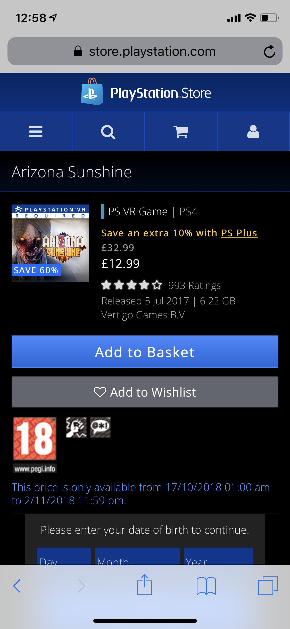 Arizona Sunshine PSVR £12.99 at PSN