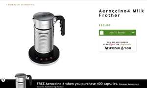 FREE Aeroccino 4 when you purchase 400 capsules at Nespresso
