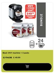 Tassimo Black VIVY coffee machine + 3 free packs + chance to stack codes for cheap pods £39.99