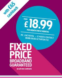 Plusnet unlimited broadband through broadbandgenie from £18.99pm / 12 mths £227.88
