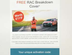 Free RAC Roadside, Recovery, and At Home Breakdown Cover worth £119 for RAC Car Insurance Customers - Check Emails