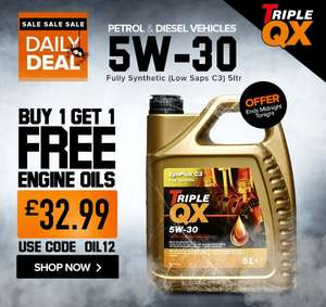 BOGOF on 5w30 5L fully synthetic low saps C3 Triple QX engine oil - 10 litres for £32.99 with code free delivery or c&c @ Euro Car Parts