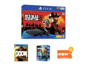 500GB PLAYSTATION 4 WITH RED DEAD REDEMPTION 2 + DOOM + DUALSHOCK 4 CONTROLLER + FORTNITE CONTENT AND NOW TV £279.98 @ Game