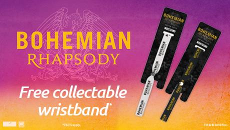 Free 'Bohemian Rhapsody' Wristband when you book to see Bohemian Rhapsody @ Odeon