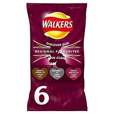 6 Pack Walkers Regional Favourites Meaty Variety (2 x Beef & Onion, 2 x Marmite, 2 x Smoky Bacon) 50p @ Tesco, St Enoch, Glasgow In Store