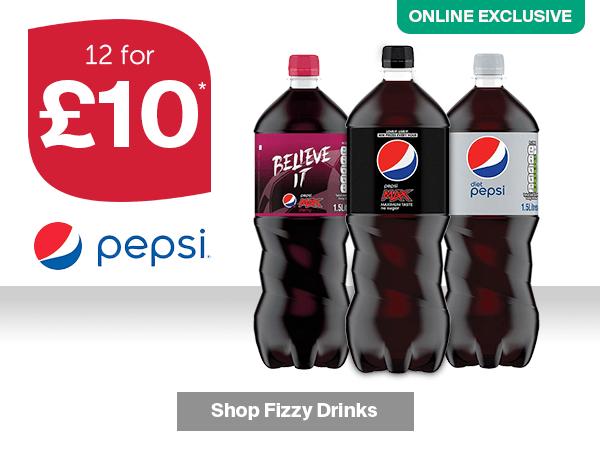 12 x 1.5L PEPSI DIET / MAX BOTTLES £10 -  **ONLINE EXCLUSIVE** @ ICELAND minimum spend £25 ( del £2 / free wys £35)