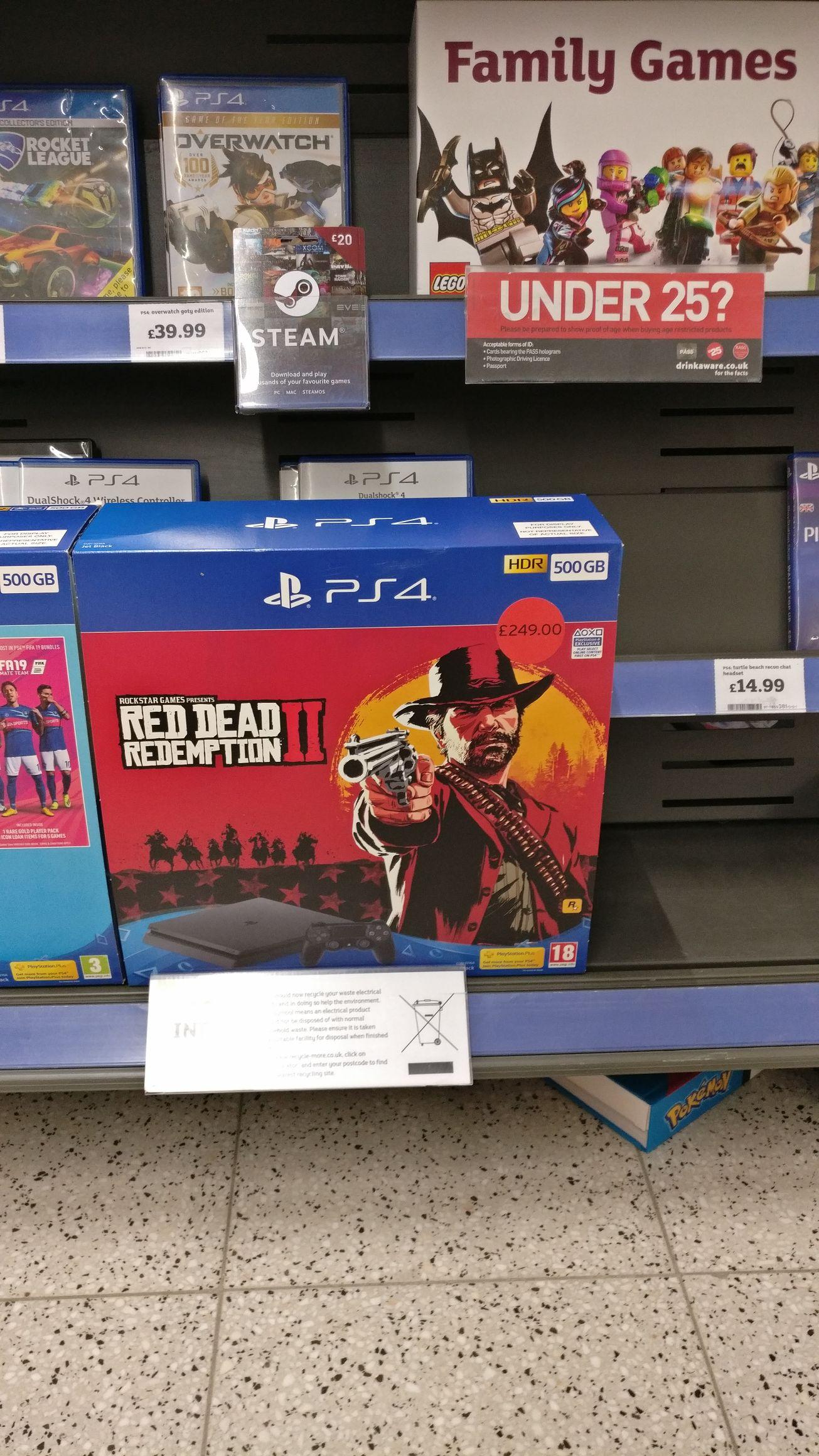 PlayStation 4 500gb + RDR 2 - £249 at Sainsbury's Reading in store