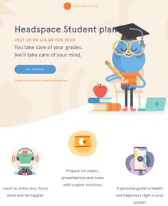 Headspace Student plan - way cheaper for £7.77 per year
