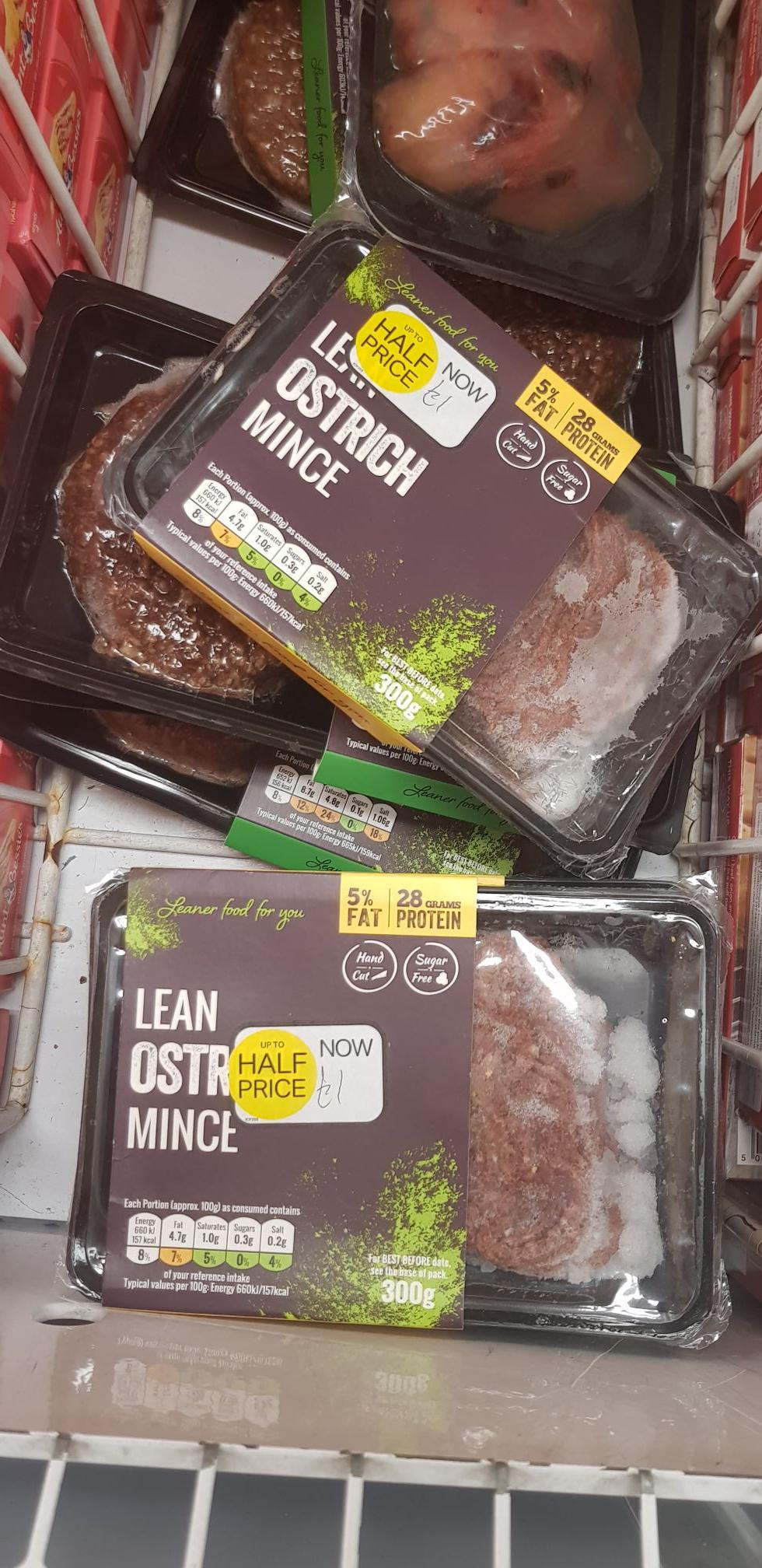 Iceland half price ostrich burger - 75p instore (Bradford thornbury store)