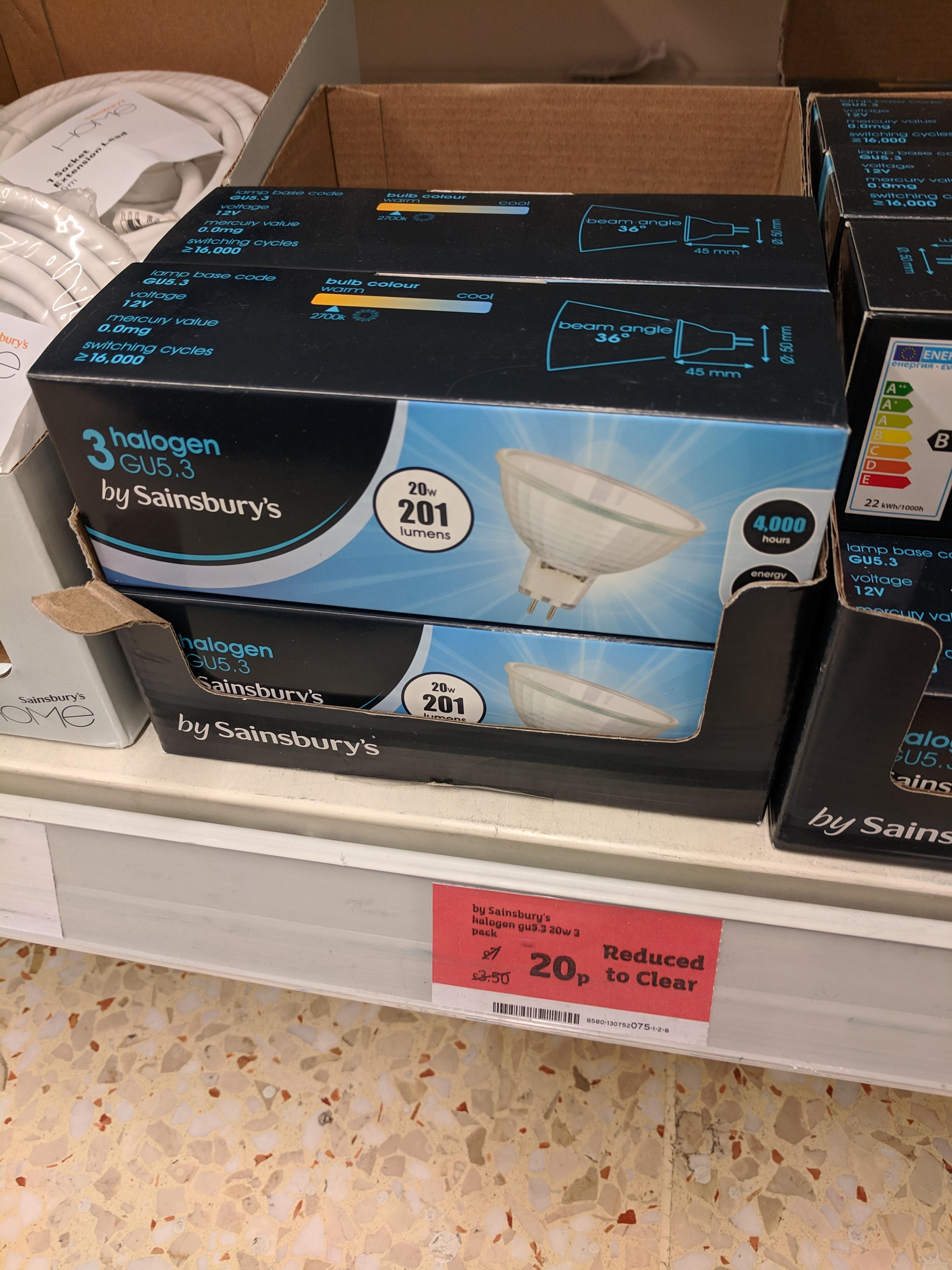 Halogen GU5.3 X 3  Sainsbury's - Whitechapel, London - 20p each
