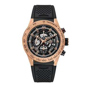 TAG Heuer Carrera Heuer 01 18ct Rose Gold And Titanium Automatic Chronograph Men's Watch WAS £10,500 NOW £6,715 at Beaverbrooks