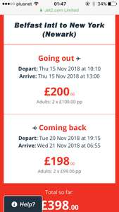 Belfast to NYC (Newark) leaving on 15/11/18 -20/11/18 for £199 pp flying with Jet2