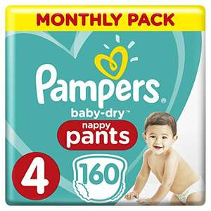 Pampers Baby-Dry Size 4, 160 Nappy Pants,(8-14 kg)@amazon prime&subscribe and save.£20.00 prime,£24.49 non prime.