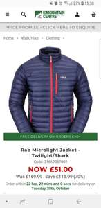 Rab Microlight Jacket Small only £51 @ LD Mountain center