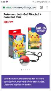 Pokemon lets go Pikachu or Eevee + Pokeball plus £79.99 with online pre-order at Smyths