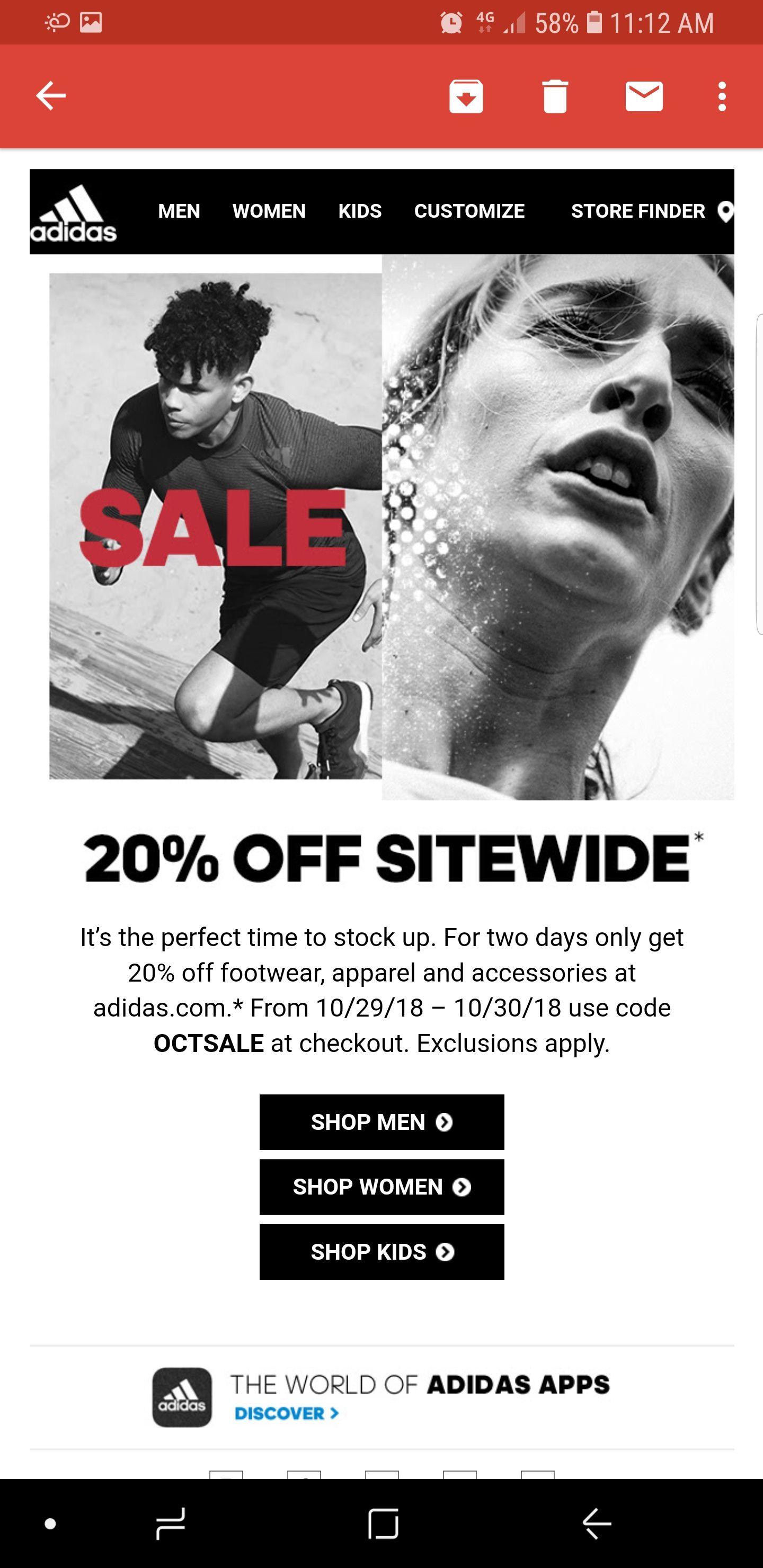Adidas.com 20% Off sitewide