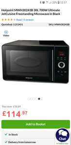 Hotpoint MWH30243B 30 Litre 700W Combi Microwave £114.97 / £119.92 delivered at Appliances Direct