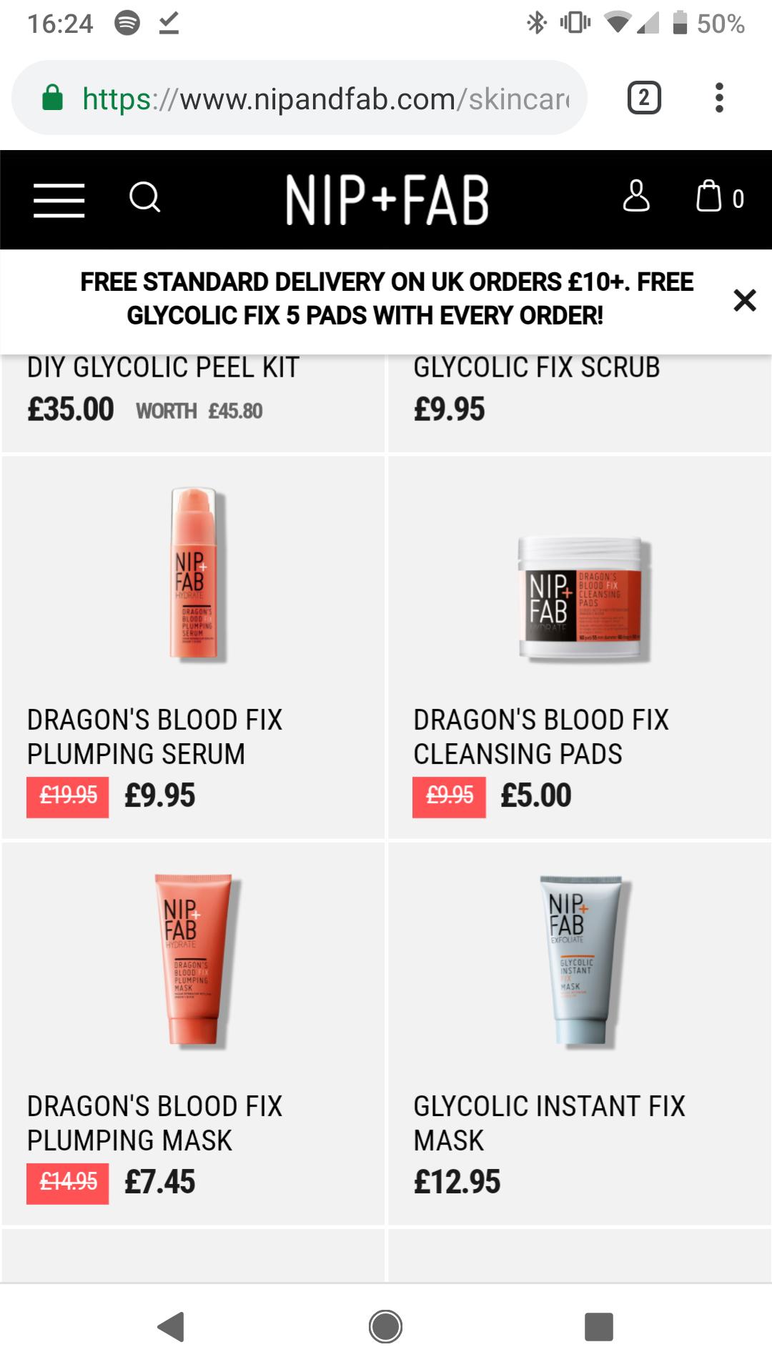 Nip Fab Sale e.g dragon's blood fix plumping serum £19.95 was now £9.95 free shipping on UK orders £10+