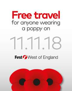 Free travel for anyone wearing a poppy on 11th November with First Bristol, Bath and the West