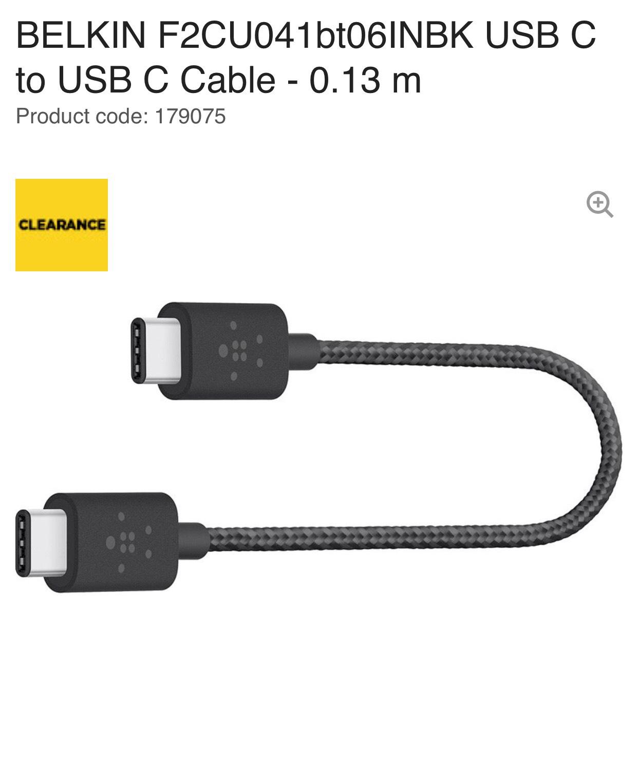 BELKIN F2CU041bt06INBK USB C to USB C Cable - 0.13 m now £1.97 @ Curry's PC World