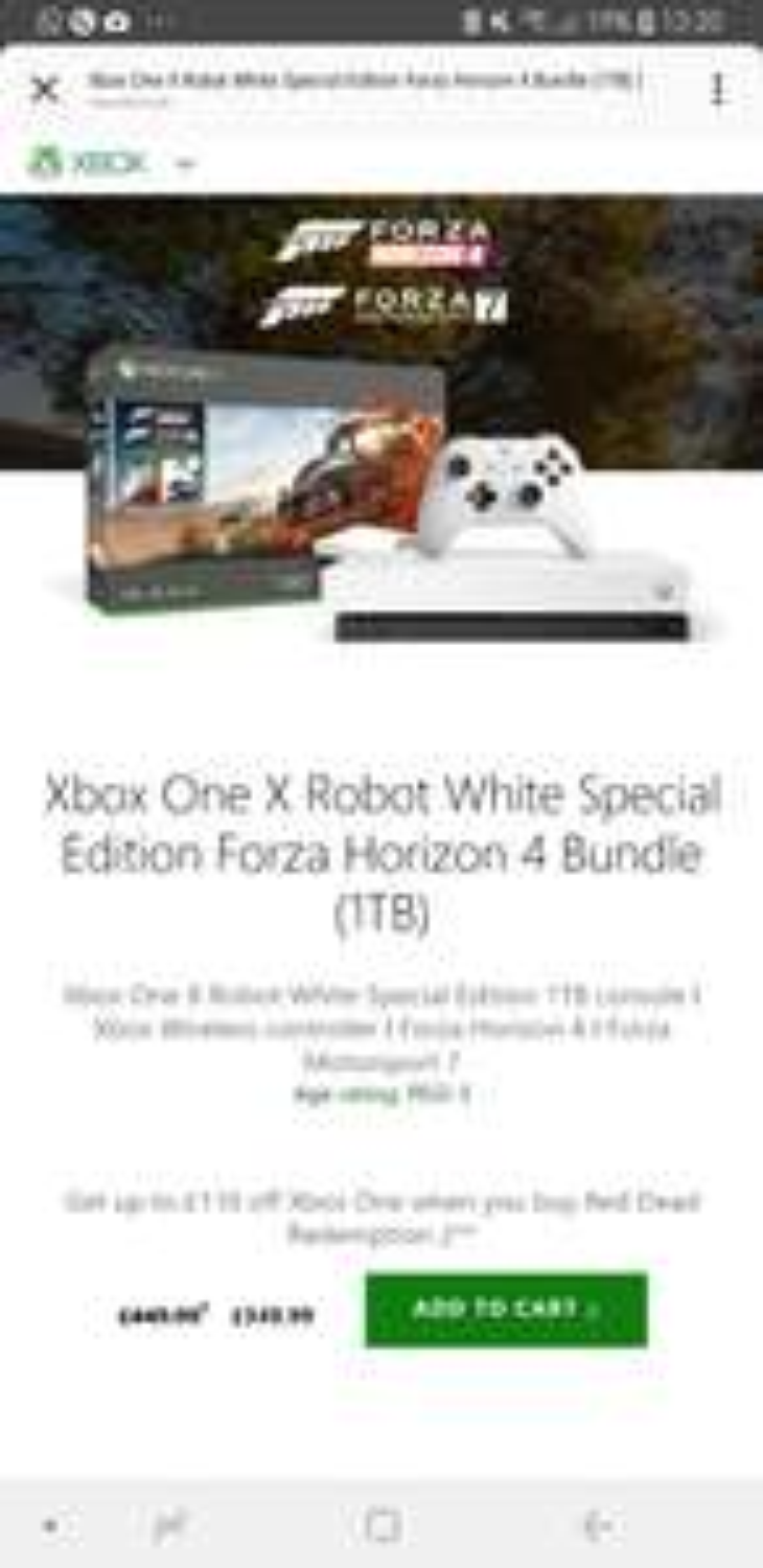 Xbox One X 1TB & Red Dead 2 £409.98 @ Microsoft