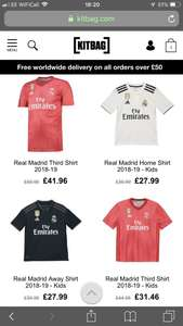 30% off all Real Madrid Kits at Kitbag - Free c&c